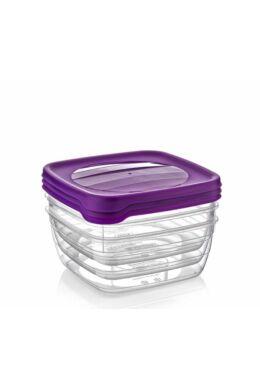 Hobby trend tároló doboz négyzet 3x0,9l 021039 lila