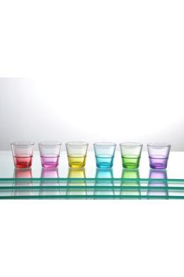 Sigma üveg pohár kávés színes szett 6 részes 6x7cl SGM04647 ÚJ