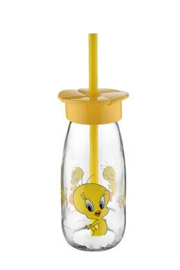 Tuffex Csőrike pohár üveg szívószálas 0,25l TP589-53 ÚJ