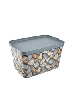 Tuffex tároló doboz tetővel mintás 24l TP601 ÚJ kavics
