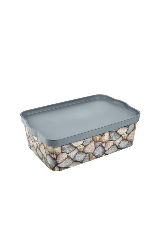 Tuffex tároló doboz tetővel mintás 14l TP600 ÚJ